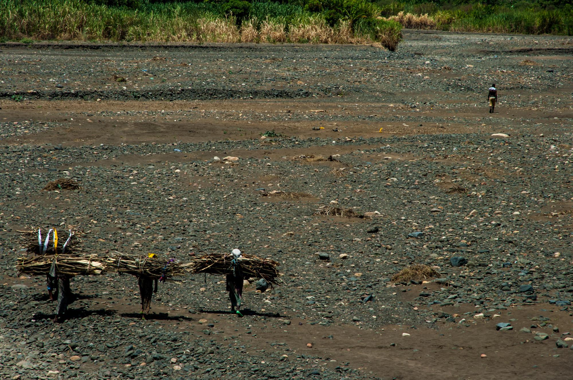 Een drooggevallen rivier in Arba Minch